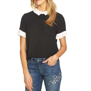 Pleat Sleeve Collared Crepe Blouse